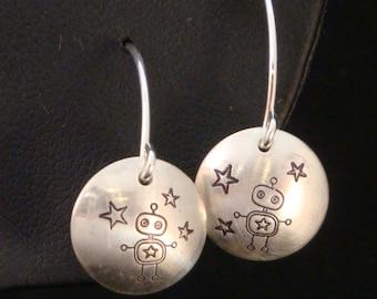 Dancing Robot Hand Stamped Earrings - Handmade in Sterling Silver - Robot Earrings