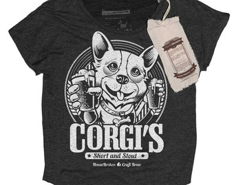 Corgi Shirt - Corgi Gift - Women's Corgi Shirt - Corgi Craft Beer Hand Screen Printed on a Womens Dolman