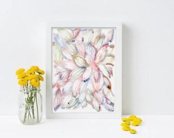 Tropical Foliage Print, Watercolour Print, Abstract Watercolor Print, Wall Decor, Modern Art, Minimalist Art, Contemporary Art, Gallery Wall