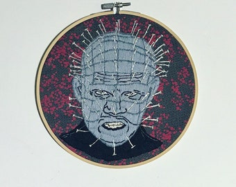 Hellraiser Embroidery hoop art, pinhead embroidery, horror embroidery, gift for horror fan, pain has a face
