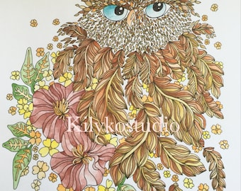 Feathery owl & flowers adult coloring page instant digital download pdf