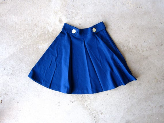 60s Blue Skirt | High Waist Skirt 1960s | Mod Mini Skirt | Basic Summer Miniskirt Hipster Girl Vintage Womens XS