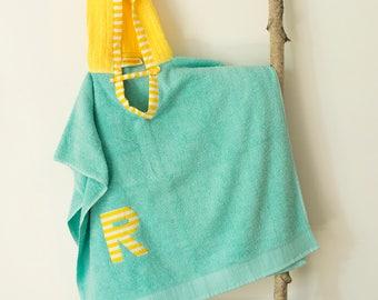 Hooded Towel Poncho, Personalized,in Aqua & Yellow. Boy or Girl print (your choice). Bath Towel. Beach towel.