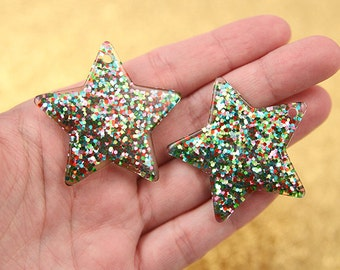 Resin Star Charms - 40mm Multi Glitter Stars Resin Charms - 4 pc set