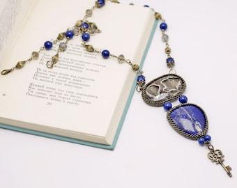 azurite simbirzite geode necklace, key boho beaded necklace, exclusive handmade jewelry, gemstone pendant, beadwoven, blue bronze OOAK
