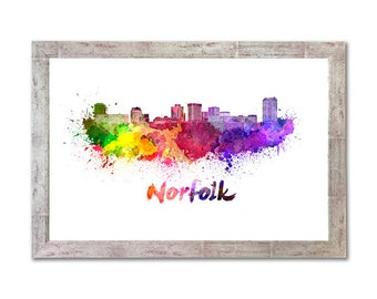 Norfolk skyline in watercolor over white background with name of city - SKU 1028