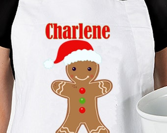 Personalized Gingerbread Apron - Christmas Apron - Adult Apron - Baking Apron Name - Personalise Christmas Apron