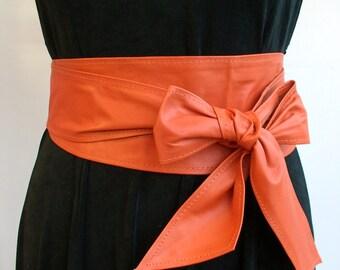 Orange soft Spanish real leather handmade obi belts sash belts tie belts corset cinch double wrap belts spring summer trends