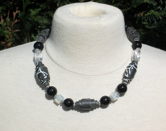 "Choker black and white collection ""argentik"""