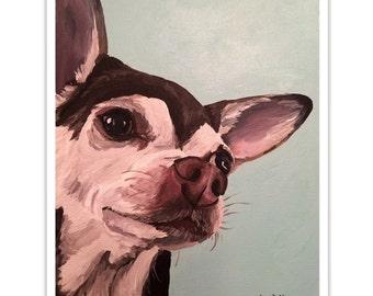 Chihuahua art print, Brown and white chihuahua art print