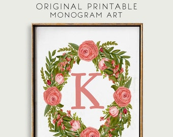 Monogram K Printable, Initial Print Floral Wreath, Gifts for Mothers Day, Wedding Gift,