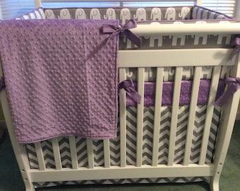 Lavender and Gray Chevron and Elephant Mini Crib Bedding Set