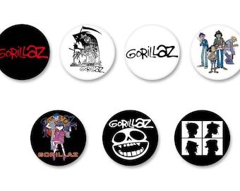 Lot Pins Ø25mm - o38mm Pinback Button Badge / Magnet o38mm Gorillaz UK Rock