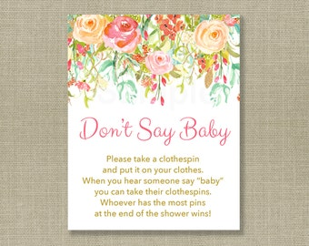 Floral Don't Say Baby Game / Floral Baby Shower / Fall Baby Shower / Gold Floral / Clothespin Game / Printable INSTANT DOWNLOAD A106