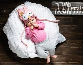 Baby Owl Hat, Sleepy Newborn Girl Owl Hat, Baby Girl Hat, Pink Baby Hat, Infant Animal Hat, Baby Halloween Costume, Newborn Prop
