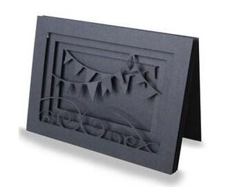Birthday Banner Shadow Box Blank Card , 3D , Pop-Dot , PaperCut , Layered , Men , Women , Teens