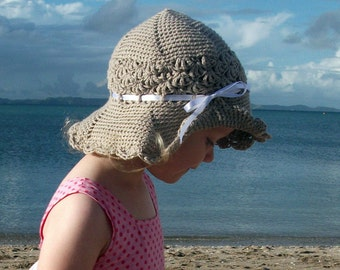 Download Now - CROCHET PATTERN Wide Brim Sunhat - Baby to Adult - Pattern PDF