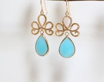 Dangle Earrings - Gold Chandelier Earrings - Large Earrings - Blue Earrings - Drop Earrings - Stone Earrings - Pink Quartz Earrings