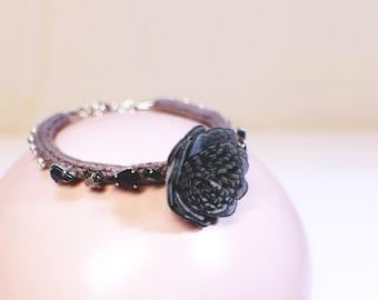 A flower hand woven brown bracelet indian sparkling japanese glass bead customizable handmade Khaki