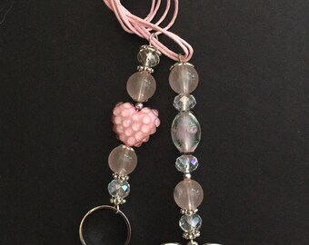 Heart silver/pink pull ring charm for Blythe doll