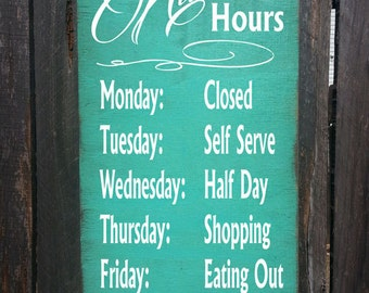 kitchen decor, kitchen hours sign, gift for cook, kitchen wall decor, funny kitchen sign