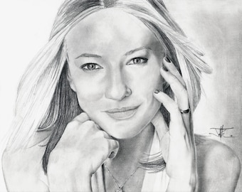 Graphite drawing, Cate Blanchett, Limited edition print