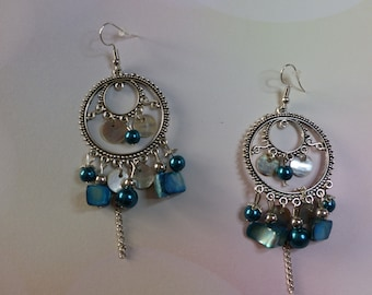 Antique silver turquoise blue chandelier earrings