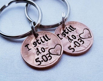 Custom I Still Do Lucky Penny Keychain, Anniversary Gift, For Husband, Anniversary,For Wife,for Her, Valentine's Day, Personalized