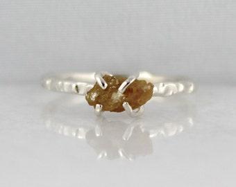 Raw Uncut Rough Diamond Engagement Ring - Sterling Silver Stacking Ring - Rough Diamond Gemstone Ring - April Birthstone - Anniversary Ring