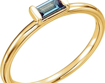 London Blue Topaz Stackable Ring, Stackable Topaz Ring, 14k Gold Topaz Ring.