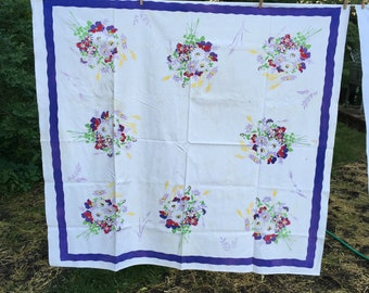Vintage Tablecloth Purple Flowers Floral {Retro Colors} Small Violet Spring Summer Bright Floral Linen Table Cloth Card Table Picnic Linen