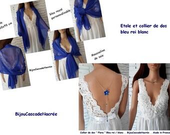 set scarf + collar Royal Blue back - set - chiffon - blue scarf wedding - bride - wedding dress - scarf shawl