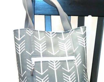 Tote Bag with zipper pockets /Tote bag / tribal print tote bag / Handbag / Shoulder Bag / Purse / Tote / Bag / Gray and White
