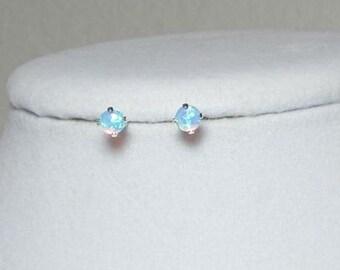 Opal Earrings, Opal Studs, Blue Opals, Light Blue, Opal Stud Post, Stud Earrings, Opal Jewelry