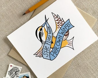 She Flies With Her Own Wings Blank Note Card / Oregon State Motto / Modern Illustrated Card / Western Meadowlark Bird / Anytime Note Card
