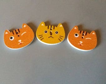 Trio of funny cat mustard and Brown button