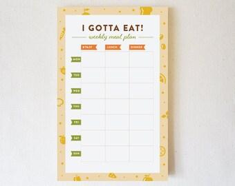 Notepad, Weekly Meal Plan, Weekly Meal Planner, Meal Prep, To Do Notepad, Meal Planner Notepad, Weekly Menu - I Gotta Eat!