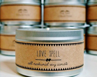 LOVE SPELL //  Soy Candle. Natural Candle. Scented Candle. Eco Friendly. Vegan Friendly. Natural Gift. Custom Gift.