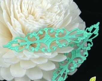 NEW - FN-RB-09006 - NICKEL-FREE Mint Colored Art Nouveau Filigree for ring base, 8 pcs