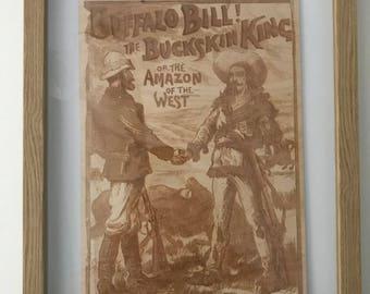 Buffalo Bill!  An engraving of a buffalo bill comic on birch plywood.