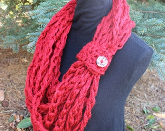 Women's Christmas Red Bulky Infinity Scarf Wooden Button