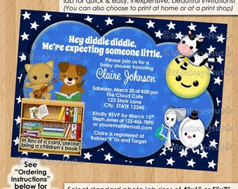 Nursery Rhyme Baby Shower Invitations / hey diddle diddle cow jumped over the moon cat dog dish NAVY #0146c Personalized DIGITAL INVITATION