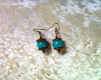 Dark Turquoise and Brass Earrings (2176)