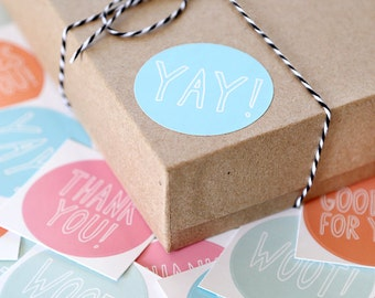 Cute Packaging Stickers - Pastel Thank You Stickers