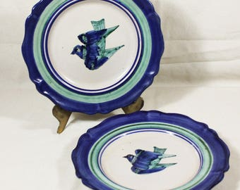 2 Mid Century Modern Italian Art Pottery Bird Plate Saucer Gambone era Vietri