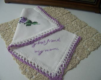 Handkerchief for Mom, Hanky for Mother, Mother of the bride hanky, Mother of the groom hankie, Hand Crochet, Embroidered,   Ready to ship