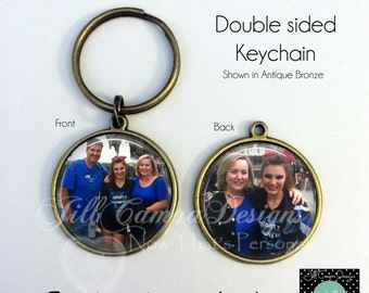 PHOTO KEYCHAIN - 2 photo Keychain - custom photo keychain - Personalized keychain, 2 custom photos on a keychain