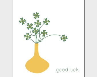 Vases Good Luck Card with Clovers