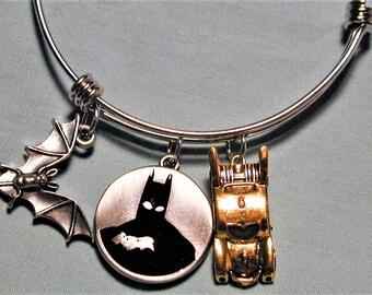 Batman Inspired Charm Bangle Bracelet  #2 Stainless Steel