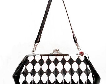 Harlequin Purse, Black and White Diamond Handbag, Retro Pin Up Bag - MADE TO ORDER